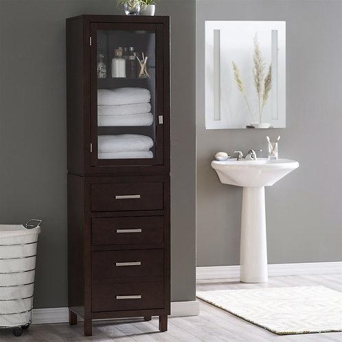 Espresso Wood Linen Tower Bathroom Storage Cabinet with Glass Paneled Door