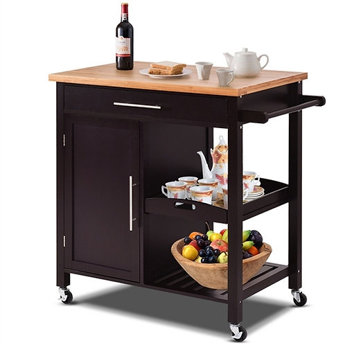 Home > Kitchen > Kitchen Carts > Modern Black Bamboo Kitchen Island Cart with