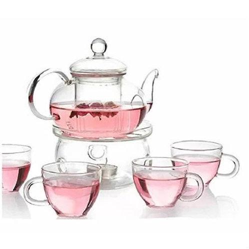 Home > Kitchen > Teapots > 6-Piece Glass Tea Pot Set with 4 Cups Teapot Warme