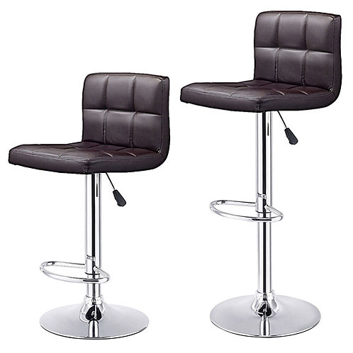 Home > Dining > Barstools > Set of 2 Brown Faux Leather Swivel Bar Stools Pub