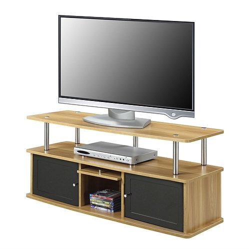 Modern 50-inch TV Stand in Light Oak / Black Wood Finish