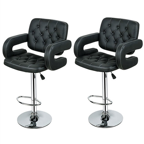 Home > Dining > Barstools > Set of 2 Black Faux Leather Swivel Bar Stools Adj
