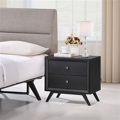 Modern Mid-Century Style Nightstand End Table in Black Wood Finish