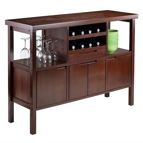 Sideboard Buffet Table Wine Rack in Brown Wood Finish