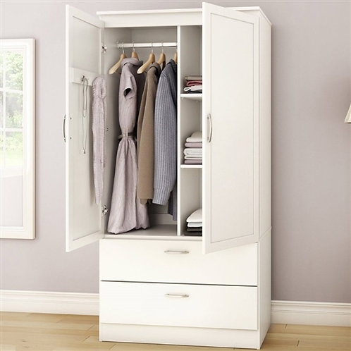 Home > Bedroom > Wardrobe & Armoire > White Armoire Bedroom Clothes Storage W