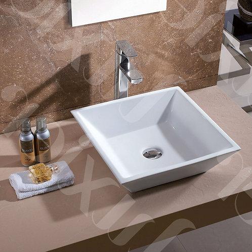 Contemporary White Ceramic Porcelain Vessel Bathroom Vanity Sink - 16 x 16-inch