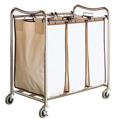 Home > Bathroom > Laundry Hampers > Heavy Duty Laundry Cart with 3 Cream Tan
