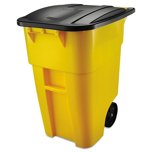 50 Gallon Yellow Commercial Heavy-Duty Rollout Trash Can Waste/Utility Container