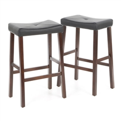 Home > Dining > Barstools > Set of 2 - Upholstered Faux Leather Saddle Seat B