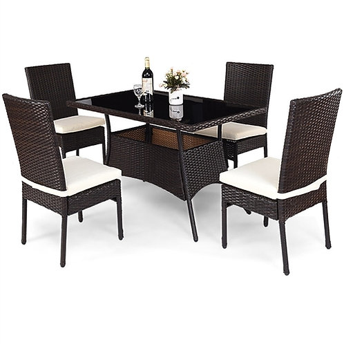 Modern Outdoor 5-Piece PE Rattan Patio Dining Set