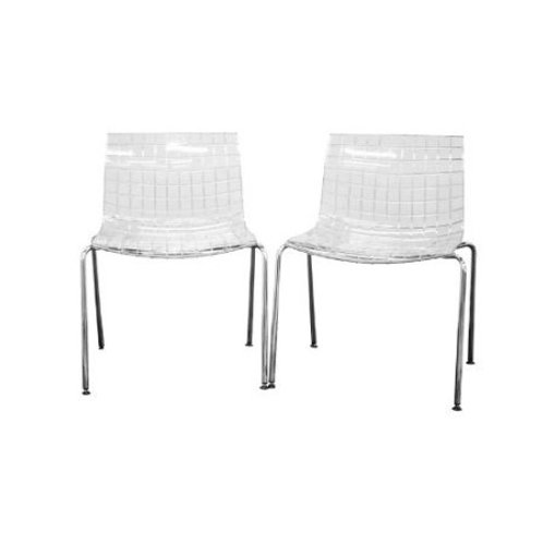 Set of 2 Modern Dining Chairs with Clear Seat and Metal Legs