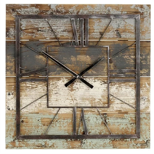 Home > Accents > Clocks > Square 27.5-inch Wood and Metal Wall Clock Industri
