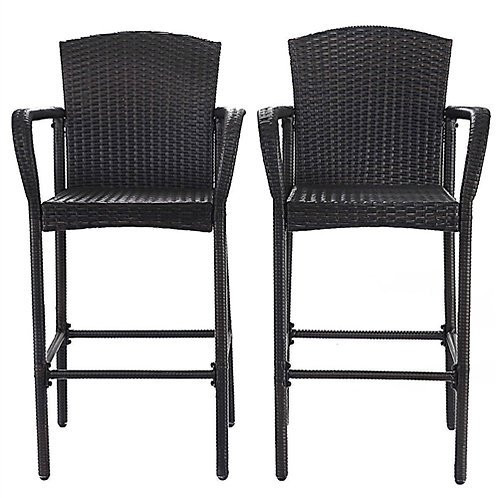 Home > Dining > Barstools > Set of 2 47-inch Bar Height Brown Rattan Barstool