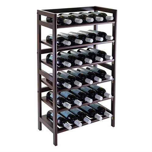 Home > Kitchen > Wine Racks and Coolers > 34-Bottle Wine Rack in Dark Brown W