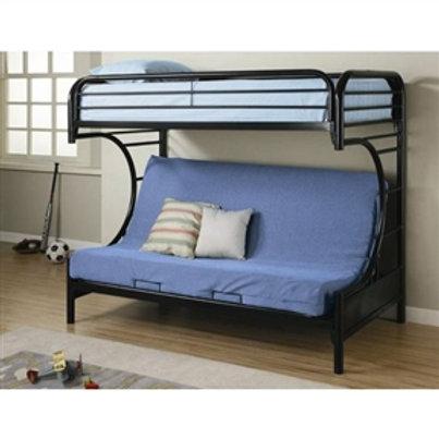 Home > Bedroom > Bed Frames > Bunk Beds > Black Metal Twin over Full Futon Bu