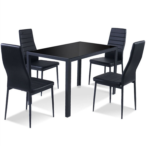 Home > Dining > Dining Sets > 5 Piece Black Glass Tabletop Dining Set With So