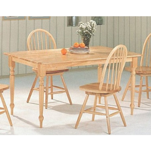 Natural Wood Finish Rectangular Dining Table with Butcher Block Top