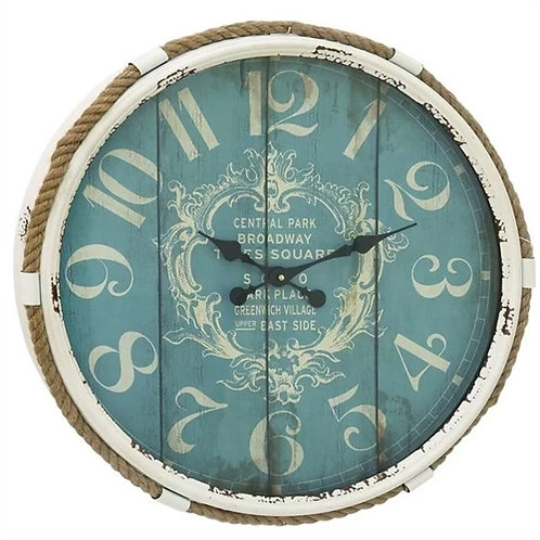 Home > Accents > Clocks > Vintage Style 25-inch Nautical Blue Wall Clock