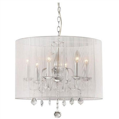 Home > Lighting > Chandeliers > Chrome and Cream 6-light Crystal Chandelier