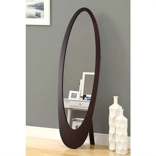 Home > Accents > Mirrors > Modern Oval Cheval Floor Mirror in Cappuccino