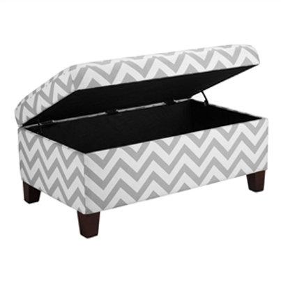 Home > Accents > Benches > Grey & White Chevron Stripe Padded Storage Ottoman