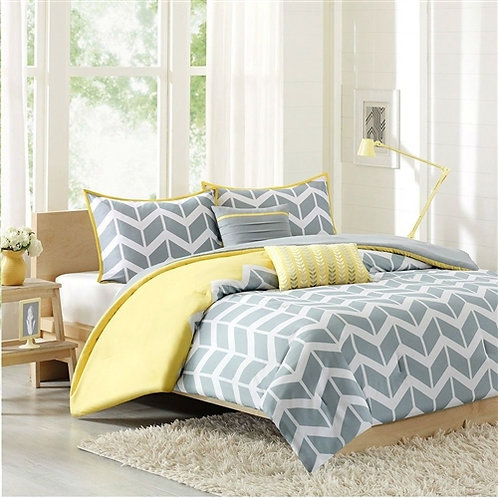 Home > Bedroom > Comforters and Sets > Full/Queen 5-Piece Chevron Stripes Com