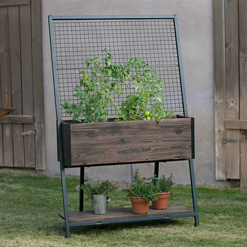 Home > Outdoor > Gardening > Trellises > Large Dark Wood Raised Planter with