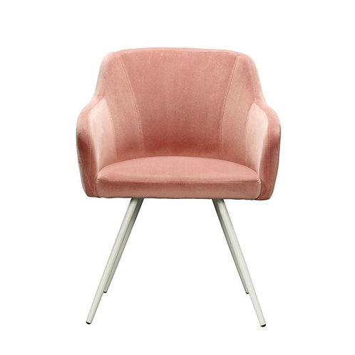 Home > Living Room > Accent Chairs > Salmon Pink Upholstered Mid-Century Low
