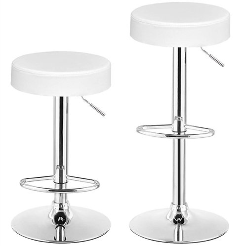 Home > Dining > Barstools > Set of 2 White Adjustable Round Faux Leather Swiv