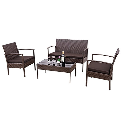 Home > Outdoor > Outdoor Furniture > Patio Furniture Sets > Brown 4-Piece Out