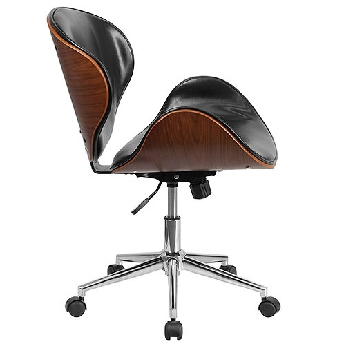 Home > Office > Office Chairs > Mid-Back Walnut / Black Faux Leather Office C