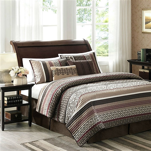 Home > Bedroom > Quilts & Blankets > Full / Queen Red Cream Espresso Leaf Str