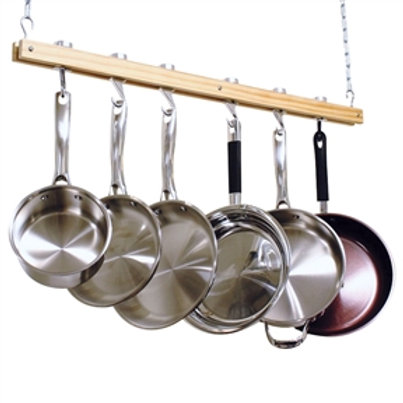 Home > Kitchen > Pot Racks > Ceiling Mount Single Bar Wooden Pot Rack with 4