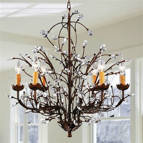 Home > Lighting > Chandeliers > Antique Bronze 6-light Crystal and Iron Chand