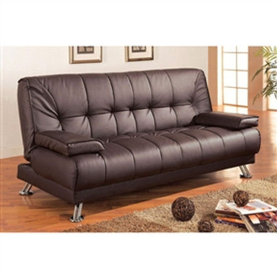Home > Living Room > Sofas > Modern Futon Style Sleeper Sofa Bed in Brown Fau