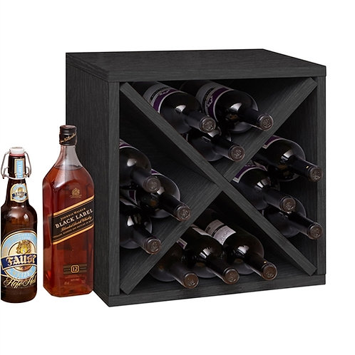 Home > Kitchen > Wine Racks and Coolers > Black Wood 12-Bottle Stackable Wine
