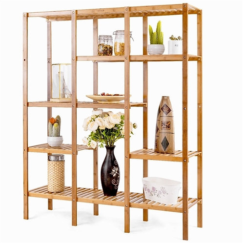 Home > Living Room > Bookcases > Eco-Friendly Bamboo 4-Shelf Bookcase Storage
