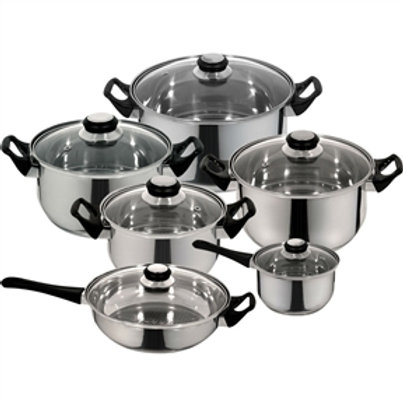 Home > Kitchen > Cookware Sets > 12-Piece Fast Heating Premium Stainless Stee
