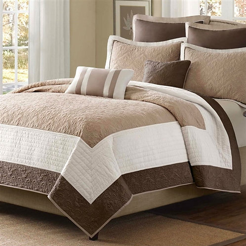 Home > Bedroom > Quilts & Blankets > King Brown Ivory Tan Cream 7 Piece Quilt