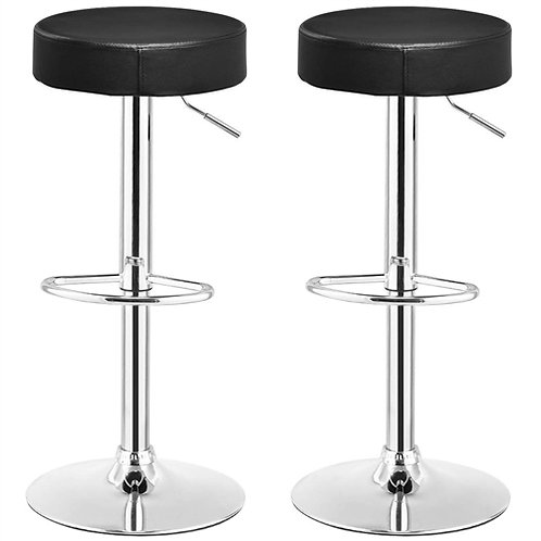 Home > Dining > Barstools > Set of 2 Black Adjustable Round Faux Leather Swiv
