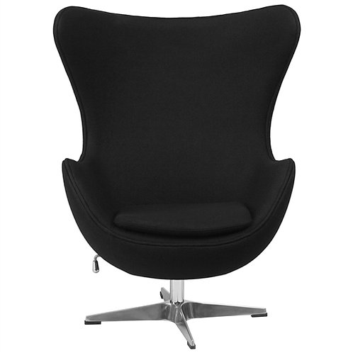 Home > Living Room > Accent Chairs > Modern Black Wool Fabric Upholstered Egg