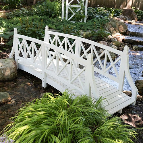 Home > Outdoor > Garden Bridges > Durable White 8ft Canadian Hemlock Garden B