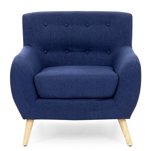 Home > Living Room > Accent Chairs > Dark Blue Linen Upholstered Tufted Armch