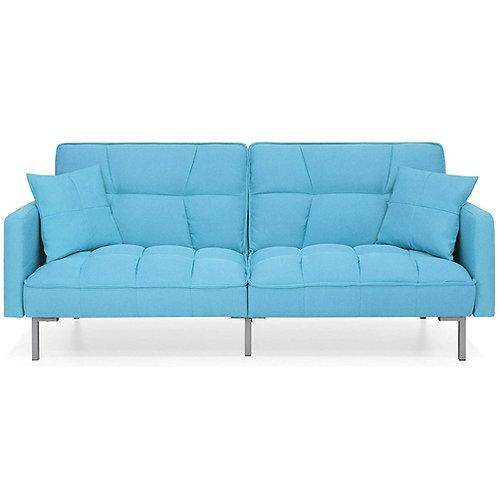 Home > Living Room > Sofas > Plush Blue Split-Back Design Convertible Linen T