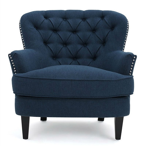 Home > Living Room > Accent Chairs > Dark Blue Mid-Century Tufted Upholstered