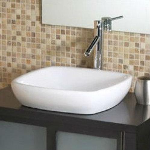 Modern Classic Style Semi- Recessed Square White Ceramic Vessel Bathroom Sink