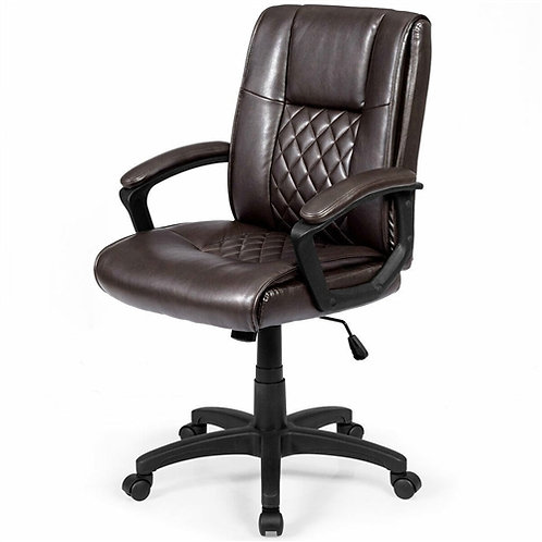 Home > Office > Office Chairs > Ergonomic Brown Faux Leather Mid-Back Office