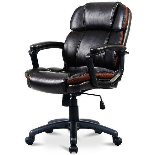 Home > Office > Office Chairs > Brown Faux Leather Ergonomic Mid-Back Office