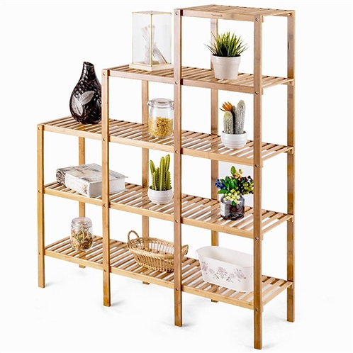 Home > Living Room > Bookcases > Bamboo Wood 5-Tier Versatile Bookcase Plant