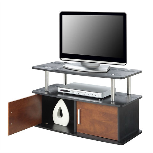Modern 35-inch TV Stand in Brown Cherry Wood-grain Finish